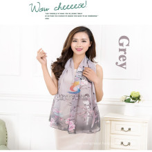 Lingshang magpie and flowers print pattern fashion charming beautiful thin soft long scarf chiffon wrap shawl scarves
