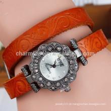 Nova flor retro impresso correia das mulheres de diamante de quartzo relógio relógio pulseira moda BWL016
