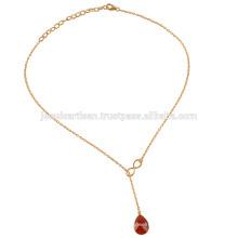 Новый Продукт 2017 Красный Оникс Золото Покрыло 925 Чистого Серебра Падение Регулируемый Ожерелье