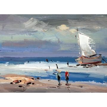 Pintura a óleo do barco da faca