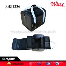 Promoção saco cosmético do pvc com padrão de croco e 4 bandejas removíveis dentro