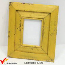 Retro Shabby Yellow Wood Photo Frame