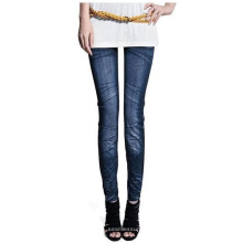 Seamless Knitted Jeans Paper Printed Leggings For Women