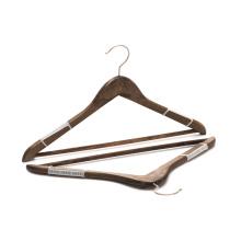 Hot sale antique cheap wooden top hanger suit hanger with antislip strip