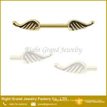 Aço cirúrgico anjo asa anel de bocal Barbell escudo 14g bocal anel jóia