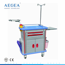 Factory supply medical treating abs mobile clinic 5 drawer crash cart