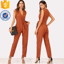 Khaki Zip Voltar Xale Collar Knot Jumpsuits OEM / ODM Fabricação Atacado Moda Feminina Vestuário (TA7018J)