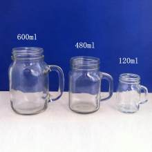 Glass Jars with Handle Drink Cup