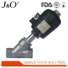 Válvula sanitária de ângulo de aço inoxidável com atuador de plástico