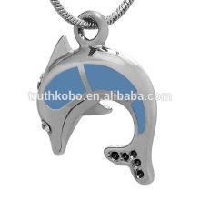 Pendentifs bijoux souvenir de crémation en acier inoxydable animal avec dauphin