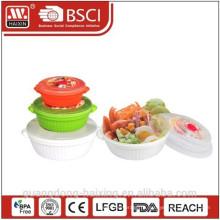 Пластиковый контейнер круглый пищи микроволновой набор 3шт (0.8L/1.7L/3L)