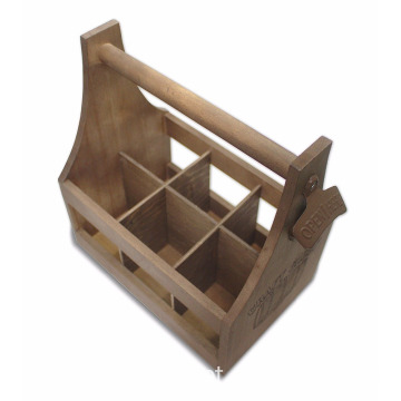 Craft Caddy Wooden Six Pack Bottle Caddy Tote Holder Beer Carrier with Attached Bottle Opener