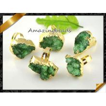 Green Agete Druzy Rings Wholesale Jewelry Women Ring (FR009)