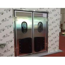 Porta de balanço de auto-retorno de aço inoxidável colorida com janela de vidro