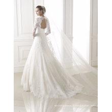 Hollow Back Lace Long Sleeve Wedding Dresses
