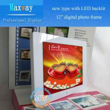 Novo tipo com LED backlit 12 polegadas quadrados moldura digital