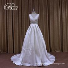 Mikado Wedding Dress with Silver Beading
