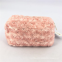 Popular Fashion Square Make up Pouch Rose Flower Polyester Makeup Travel Bag Custom Cosmetic Bag