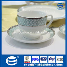 china product 220cc ceramic tea set with silver rim new bone china 6 cup and 6 saucer in gift box