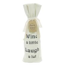 Холщовый рождественский винный подарочный пакет на шнуровке