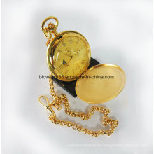 Cadena mecánica del reloj de bolsillo de la caja de cobre amarillo de la calidad plateada oro