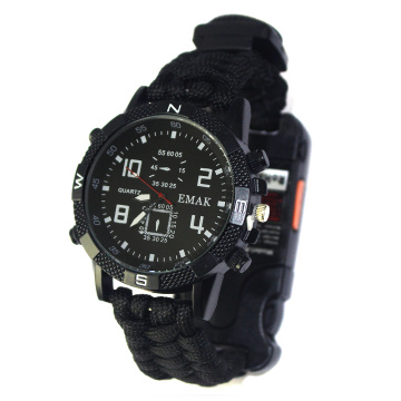 2021 Tactical Emergency Paracord Watch Kompass Überleben