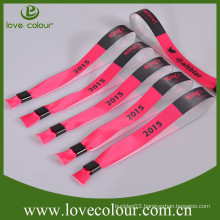 OEM wholesale promotional polyester custom wristband with plastic lock for VIP