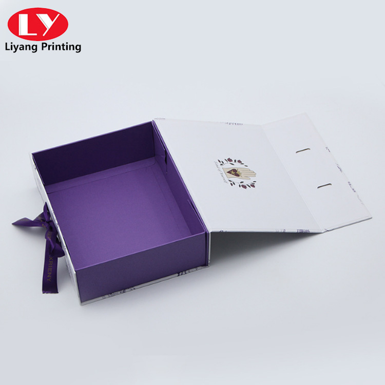 Purple Book Box with ribbon