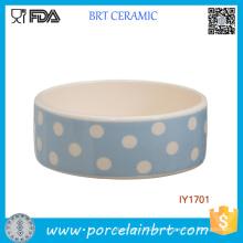 Großhandelsblau und Weiß Wave Point Ceramic Pet Bowl