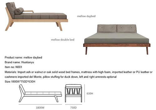 Leather Wood Living Room Daybed