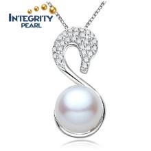 Pendentif en perle d'eau douce de 9 à 10 mm AAA Pendentif en perle d'eau douce en argent blanc 925