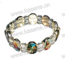 Religion Farbige Bilder Silber Metall Saint Rosary Armband