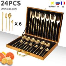 24PCS Cutlery Set Stainless Knife Fork Spoon Flatware Tableware Set Gold Gift Box Portable Dinnerware Dishwasher Kitchenware