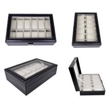 Boîtier de montre de bijoux en cuir noir 12 grille (HX-A0756)