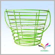 Plaza de compras de supermercado verde cesta de almacenamiento de alambre apilable
