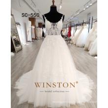 simple spaghetti straps v-back girls Wedding Dresses Bridal Gown 2020