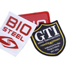 Wholesale Cheap Custom Brand Logo Iron on Fabric Cloth Uniform Clothing Merrow Edge Badges Woven Patches