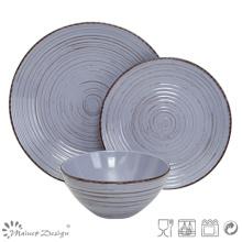 18PCS Antiqute Blue with Brush Ceramic Dinner Set