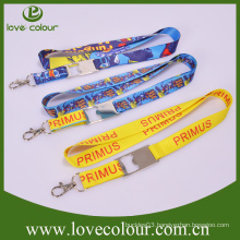 High quality Cheap custom logo polyester lanyard with bottle opener