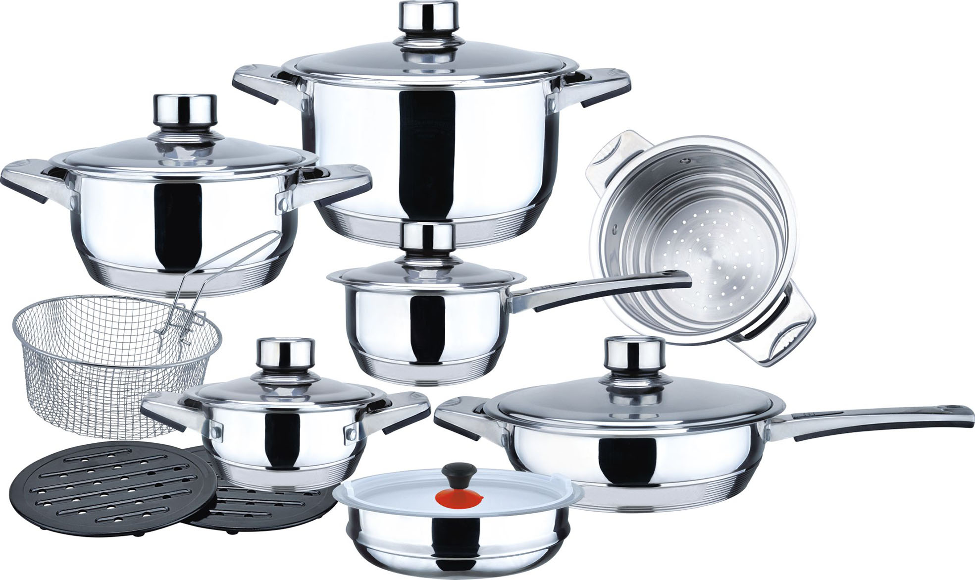 New 11step 18pcs wide edge cookware set