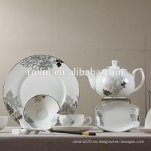 La placa de cena de cerámica blanca barata moderna exquisita de la nueva llegada fija