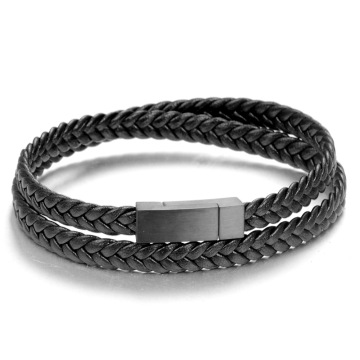 Fashion Braided Flat Genuine Leather Magnetic Clasp Bracelet