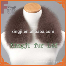 Veste en cuir de couleur doré col fourrure de renard bleu avec doublure