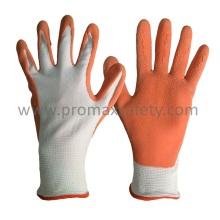 13G Weiß Polyester Liner Orange Schaum Latex Coating Garten Handschuhe