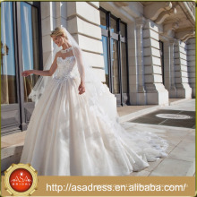 ASWY12 Elegant Transparent Back Lace Ball Gown Bridal Dress