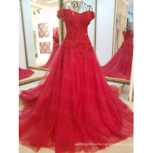 LS31008 China red off shoulder tulle african big girls evening party wear dress patterns kids