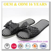 New fashion big polk dot bowknot front ladies daily wear open toe slipper