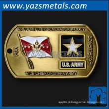 personalize etiquetas metálicas militares, com design de logotipos
