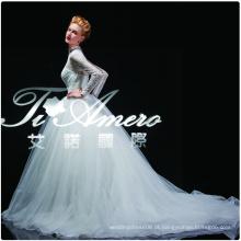 1A175cx 2015 Vestido de noiva em colar alto em pé de renda / Real Picture Show Vestido de casamento nupcial Tribunal Trem Europa e América 2105