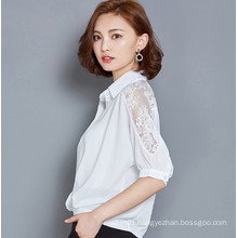 Fashion Chiffon Ladies Blouse with Lace Sleeve